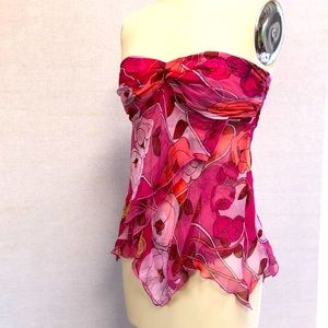Silk Chiffon Rose Printed Strapless Top - S